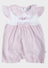 NEW BABY GIRLS BABALUNO PINK & WHITE SUMMER FRILLY ROMPER 100% COTTON 6-12M