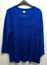 NUOVO TAGLIE FORTI Super Chic manica lunga Ladies Pullover in ROYAL BLU tgl 58