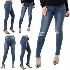Ladies Womens Denim Ripped Knee Destroyed Distress Skinny Slim Fit Faded Jeans