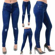 Ladies Womens Denim Ripped Whiskers Knee Destroyed Distressed Skinny Fit Jeans