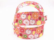 DIY 1-100 Yard 1''25MM fruit Printed Grosgrain Ribbon Hair Bow Sewing Ribbon