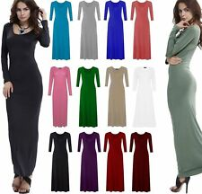 Womens plain Long Sleeve Stretchy ladies Flared Long Jersey Maxi Dress 8-26