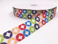 DIY 2-100 Yard 1'' 25MM  Printed Round Grosgrain Ribbon Hair Bow Sewing Ribbon