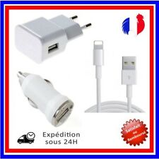 CHARGEUR IPHONE 5 5S 5C 6 6S PLUS 7 USB LOT KIT 3 EN 1 CABLE + SECTEUR 2A/LOT