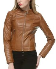 Women Tan Brown Biker Quilted Soft Real Leather Jacket
