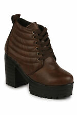 Shoetopia Women Brown Lace-Up Casual Boots (Boots-4549-Brown)