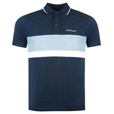 Pierre Cardin Mens Cotton Cut and Sew Stripe Panel Tipping Collar Pique Polo