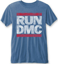 RUN DMC ' LOGO VINTAGE' (Blue) Burnout T-shirt - NUOVO E ORIGINALE