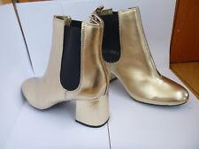 ATMOSPHERE PRIMARK GOLD BLOCK HEELED CHELSEA BOOTS BLING BOOT 4 5 6 BNWT