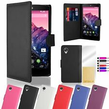 Book Wallet Synthetic PU Leather Flip Case Cover Card Slot - Google Nexus 5