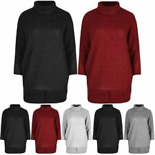 Ladies Oversized Knitted Jumper Womens Dip Hem High Low Cowl Neck T Shirt Top