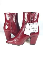 ZARA RED LEATHER HIGH HEEL ANKLE BOOTS SIZE UK4 EUR 37 US6.5