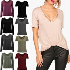 New Womens Ladies Round V Strap Neckline Casual Stretchy Basic Baggy T Shirt Top