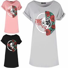 Ladies Women Turn Up Sleeve Rock America Half Skull Loose Fit Long T Shirt Dress