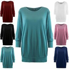 Womens Ladies Plain Oversized Baggy 3/4 Cuffed Sleeve Round Neck Tee T Shirt Top