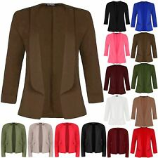 Womens 3/4 Turn Up Sleeve Coat Ladies Open Front Collared Casual Blazer Jacket