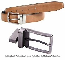Mens Reversible Waxed Leather Crocodile Print Pin Buckle Genuine Leather Belts