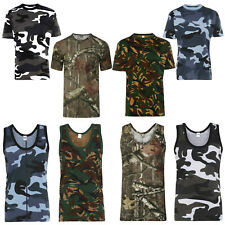 Men's Army Jungle Camouflage Muscle Vest T-Shirt Cotton Casual Gym Running S-5XL