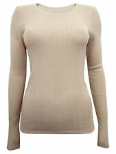 M & S COLLECTION LADIES 2 PACK THERMAL LONG SLEEVE POINTELLE LIGHT CAMEL VEST