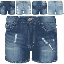 Womens Ladies Raw Edges Ripped Faded Jeans Distressed Dark Denim Wash Shorts