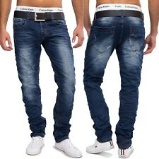 Hombre jeansnet Used Look Vaqueros Tanner Destroyed Azul Oscuro Slim Fit