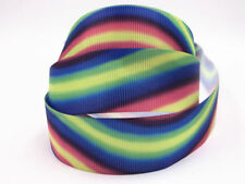 DIY 1-100 Yard 1''25MM rainbow Printed Grosgrain Ribbon Hair Bow Sewing Ribbon