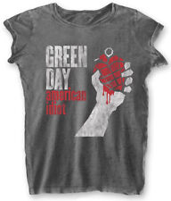 Green Day ' AMERICAN IDIOT VINTAGE ' Womens Burnout T-SHIRT - Nuevo y Oficial