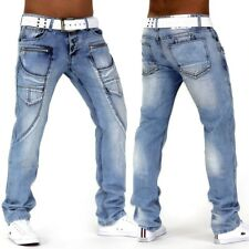 Jeans Uomo Designer Pantaloni in denim AUTHENTIC Destroyed Thunderstorm BLU GO