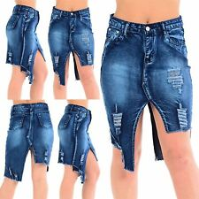 Womens Ladies Denim Zip Up Ripped Cut Out Raw Edge High Waisted Jeans Mini Skirt