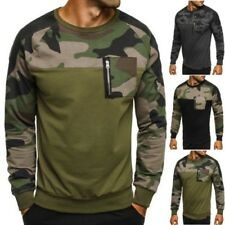 ozonee ATHLETIC 749 Hommes Pull Maillot manches longues militaire camouflage