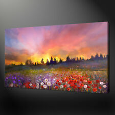 FIELD OF POPPIES SUNSET LANDSCAPE WALL ART CANVAS PRINT PICTURE SPRING FLOWERS