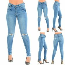 Womens Ladies Destroyed Distressed Knee Ripped Cut Out Denim Frayed Fitted Jeans