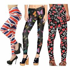 Ladies Flag Love Lips Butterfly Print Stretchy Sports Yoga Trousers Leggings