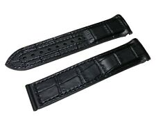 Black Rubber/Leather Strap/Band for Omega SeaMaster/SpeedMaster 22mm + Clasp