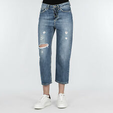 JEANS DONNA DONDUP BLUE DENIM LOOSE FIT MADE IN ITALY PANTALONE SHOCHING DP090 8