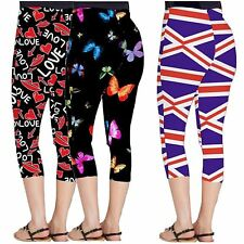 Womens All Over Plus Size Love Lips Butterfly Flag Print Gym 3/4 Leggings 8-26