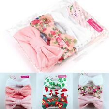 3Pcs Newborn Headband Cotton Elastic Baby Girls Print Floral Bow-Knot Hair Band
