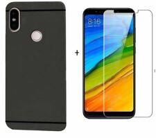 FOR XIAOMI REDMI NOTE 5 PRO  MATTE FINISH SOFT BACK CASE COVER & TEMPERED GLASS