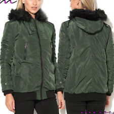NEW WOMENS LADIES PADDED WINTER COAT PUFFER FUR COLLAR HOODED JACKET PARKA SIZE