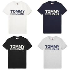 TOMMY HILFIGER T-SHIRT - TOMMY JEANS CLASSIC LOGO TEE - BLACK, GREY, NAVY, WHITE