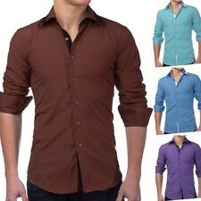Camicia da uomo maniche lunghe Polo Slim Fit casual BUSINESS (4 COLORI)