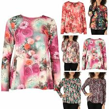 Womens Long Sleeve Top Ladies Stretchy Flared Swing Floral Printed Tee T Shirt