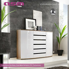 sideboard Highboard Commode, armoire console Ontario Haute Brillance PVC