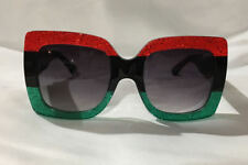 Authentic New*Gucci*Sunglasses GG0083 Red Green Frame Gray Grey Lens