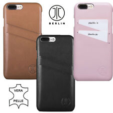 Custodia rigida vera pelle JT BERLIN 2 tasche schede badge Apple iPhone 7 8 Plus