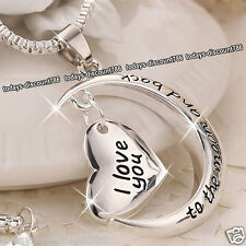 I LOVE YOU TO THE MOON AND BACK COLLANA A CUORE ARGENTO NATALE REGALO PER LEI