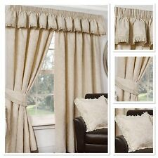 """Sundour Luxury Shetland Fully Lined 3"""" Pencil Pleat Curtains Natural"""