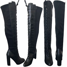 NEW WOMEN'S LADIES SEXY THIGH HIGH OVER KNEE BOOTS FRONT LACE STILETTO HEEL