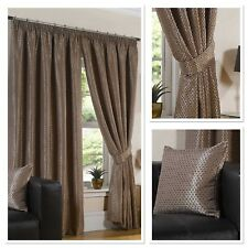 """Sundour Luxury Sicily Woven Fully Lined 3"""" Pencil Pleat Curtains Chocolate"""