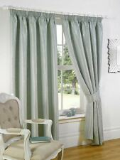 """Sundour Luxury Sicily Woven Fully Lined 3"""" Pencil Pleat Curtains Duck Egg"""